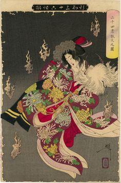 "'The Foxfires in Nijushiko' (1892) from the series ""Thirty-six Ghosts"" by Japanese artist and printmaker Tsukioka Yoshitoshi (1839-1892). Woodblock, 36.75 x 24.75 in. via Egenolf Gallery on artsy"
