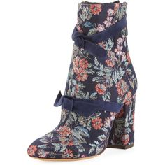 Alexandre Birman Lauren Floral Jacquard Bow Boot ($795) ❤ liked on Polyvore featuring shoes, boots, ankle booties, navy, shoes boots, floral-print boots, round toe ankle booties, back zip boots, navy blue booties and navy boots