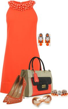 A fashion look from April 2013 featuring red dresses, beige pumps and brown leather purse. Browse and shop related looks. Classy Outfits, Chic Outfits, Beautiful Outfits, Mode Orange, Fashion Looks, Mode Outfits, Ladies Outfits, Looks Style, Mode Inspiration