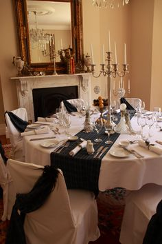 Tartan table runner and chair sashes