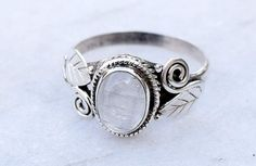 Moonstone ring Stone ring Silver ring Rainbow by silvershop925