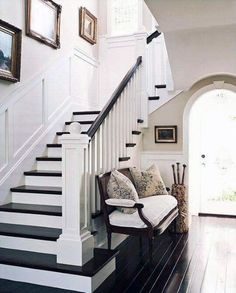 My dream home would have dark wood floors throughout with wainscoting. I love the architectural details here like the squared off bannister and the curve of the arched door frame. Reminds me of a beautiful Craftsman style home :) Staircase Molding, Stairs Trim, House Staircase, Luxury Staircase, Interior Staircase, Staircase Remodel, Staircase Makeover, Home Design, Interior Design