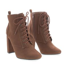 Eminent Green By Delicious, Almond Toe Lace Up High Heel Ankle Boots Dr Shoes, Cute Shoes Heels, Pretty Shoes, Boots With Heels, High Heels Outfit, Women's Boots, Brown Heeled Boots, Brown Heels, Brown Shoe
