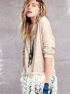 Jersey liso y top tejido de Free People. Boho Chic 2012