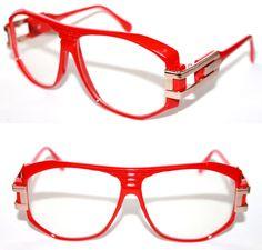 Men's Vintage 163 Clear Lens Eye Glasses 80's Polished Red Gold Hip Hop Retro  #Spexx #Retro