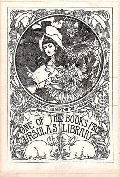 P.I.B. Bookplate for Ursula's Library (unknown). Early 20 cent.