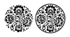 Folk Embroidery With Flowers - Traditional Polish Round Pattern In Monochrome Stock Vector - Illustration of ethnic, cute: 31330907 Hungarian Embroidery, Folk Embroidery, Learn Embroidery, Embroidery Stitches, Embroidery Patterns, Machine Embroidery, Floral Embroidery, Polish Embroidery, Embroidery Tattoo