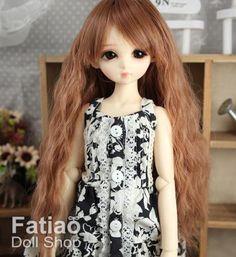 New-1-4-BJD-MSD-Dollfie-7-8-Doll-Long-Curls-Wig-Brown