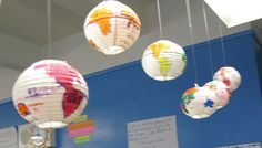If you don't have the time to create papier-mâché globes, you can take a shortcut and buy white paper lanterns. Then your students can draw the continents on with markers rather than painting them.