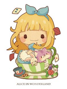 Cute alice in wonderland chibi anime pastel kawaii Anime Chibi, Kawaii Chibi, Cute Chibi, Kawaii Art, Kawaii Anime, Anime Art, Disney Kunst, Arte Disney, Disney Art