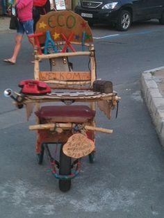 eco taxi... it's a wheelbarrow!! #ecofunnies