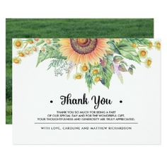 Rustic Sunflower Thank You Wedding Photo Cards - wedding thank you gifts cards stamps postcards marriage thankyou