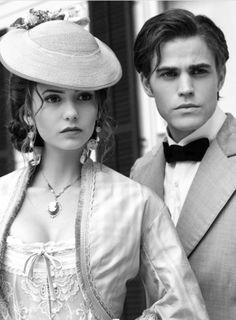 paul wesley - stefan and nina dobrev - elena in the vampire diaries