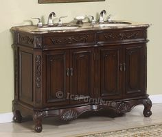 50 Inch Double Bathroom Vanity Cabinet W Marble Top No 1152