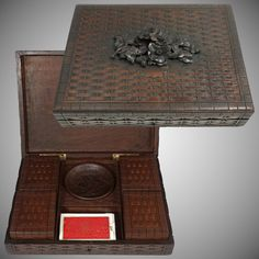 Antique Black Forest Game Box Hand Carved Wood Full of Gaming Tokens / Poker Chips, Playing Cards Antique Wooden Boxes, How To Antique Wood, Forest Games, Hand Carved, Carved Wood, Games Box, Poker Chips, Casket, Black Forest