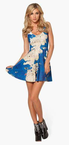 Vestido Mapa de Poniente. Juego de Tronos Vestido ajustado con la falda amplia y corto con la imagen del mapa de poniente de la famosa serie de Tv Juego de Tronos.
