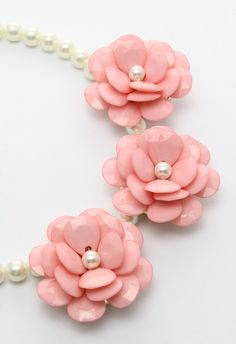 Pink Flower Pearl Necklace - Accessory - Retro, Indie and Unique Fashion