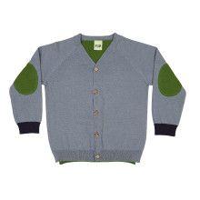Blauw-groene V-neck cardigan