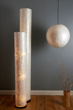 Natural Capiz Shell Floor Lamp Cylinder by Collectiviste on Etsy
