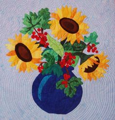 Quilted Wall Hanging  Summer Sunflowers Leaves  and by nhquiltarts, $350.00