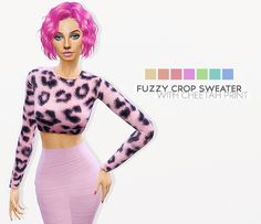 FUZZY CROP SWEATER WITH CHEETAH PRINT at Leeloo • Sims 4 Updates