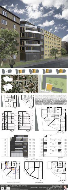 Studentský projekt. LS 2013/2014. FSv ČVUT v Praze. Ideas Para, Architecture Design, Floor Plans, Tower, Houses, House Design, How To Plan, Presentation Board Design, Planks