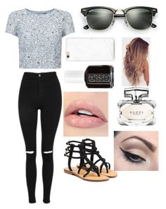 """Untitled #833"" by aneesakhan02 ❤ liked on Polyvore featuring Adrianna Papell, Topshop, Mystique, Mehron, Gucci, Essie and Ray-Ban"