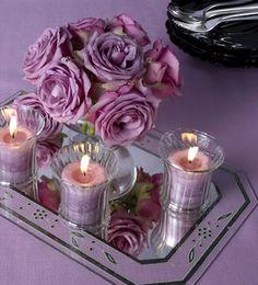 adornos de mesa fiestas mexicanas | Espejos con arreglos florales: