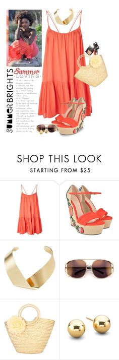 """""""Summer Brights"""" by shortyluv718 ❤ liked on Polyvore featuring Topshop, Gucci, Kenneth Jay Lane, Chanel, dress, summerstyle, wedgesandals, summersandals and summerbrights"""