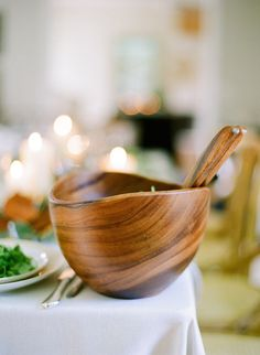 Class up any dinner party with a wooden salad bowl