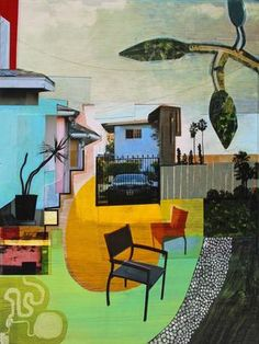 """""""On The Patio"""" mixed media collage of digital prints and acrylic paint on wood x 2011 Private collection, UK Create Collage, Mixed Media Collage, Collage Art, Acrylic Paint On Wood, Painting On Wood, Amazing Paintings, Selling Art Online, Urban Decay, Giclee Print"""