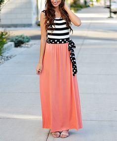 So Perla Coral Stripe & Polka Dot Maxi Dress on #zulily *too cute