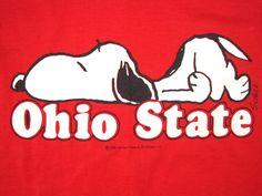 vintage ohio state | Never Worn 80s Vintage Ohio State Snoopy Sleep T Shirt Planking Medium ...