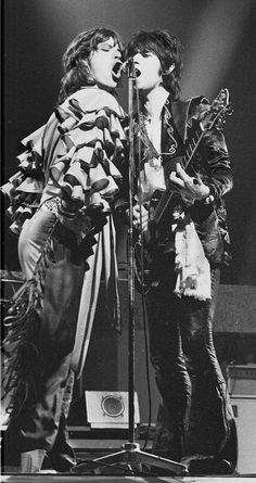 Mick Jagger and Keith Richards onstage in Frankfurt, Germany in 1976. I saw the Stones twice in Frankfurt this was one of them. I did not take this picture - Dan Strobel