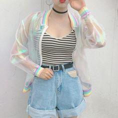 Teen Girls Yarn Cool Laser Symphony Sunscreen Sun Proof Bat Sleeve Jersey Jacket Clear iridescent transparent coat rainbow B4584