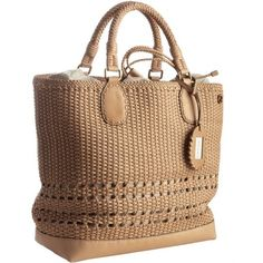Gucci Beige Woven Leather Tote Bag