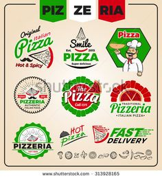 pizzeria logo template design                                                                                                                                                                                 More