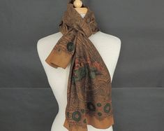 Oblong Silk Scarf by Talbots made in Japan, Paisley and Hunting Scene Pattern Scarfs, Talbots, Paisley, Hunting, Scene, Japan, Silk, Formal Dresses, Trending Outfits