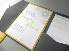 Yellow and Grey Pocketfold invitations  @Karin H Lambruschini  This is the idea!