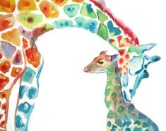 This giraffe painting is funky and colorful and depicts an intimate moment between a mommy and baby giraffe. It shows how there is no love