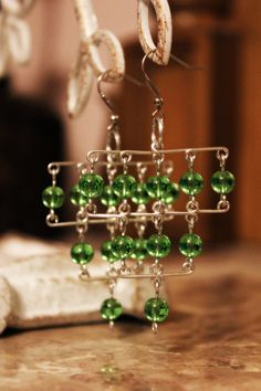 Tiered Green Glass Beaded and Aluminum Earrings by ThingsByElliott, $15.00