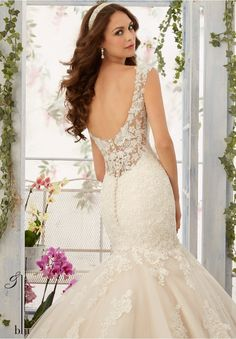 Wedding Gown 5407 Alencon Lace Appliques with Frosted Beading onto the Tulle Mermaid Gown