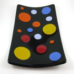 Fun Festive Fused Glass Serving Plate by dpholkdesigns on etsy. #fusedglass #platter #polkadots $65.00