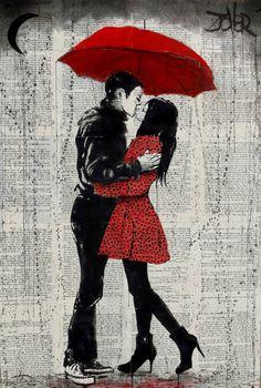 "Saatchi Art Artist LOUI JOVER; Drawing, ""rain kisses"" #art"