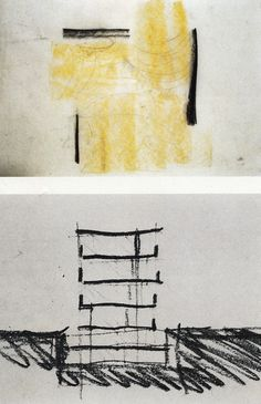 """PETER ZUMTHOR's buildings are powerful statements with minimal means, an approach even reflected in his sketches. Here sketches for the Bregenz Museum, a floor plan with light flooding in, and a simple section"". Taken from http://cmuarch2013.wordpress.com/tag/sketching/"