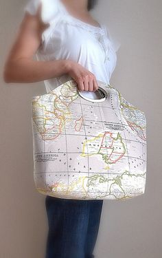 World Map Printed Fabric Metal Purse Handle by renklitasarimlar, $57.00