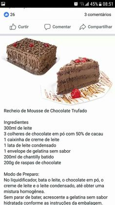 Recheio Cake Recipes, Dessert Recipes, Brownie Cupcakes, Good Food, Yummy Food, Cake Fillings, Low Carb Keto, Yummy Cakes, Cake Decorating