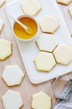 Honeycomb Sugar Cookies ~ A great opportunity to substitute honey for sugar. Just remember, when substituting honey for sugar in baked goods: 1. Reduce the liquid in the recipe by 1/4 cup for each cup of honey used. 2. Add about 1/2 teaspoon baking soda for each cup of honey used. 3. Reduce oven temperature by 25 degrees to prevent over-browning.