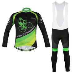 Men's Green Long Sleeve Cycling Jersey Set #Cycling #CyclingGear #CyclingJersey #CyclingJerseySet