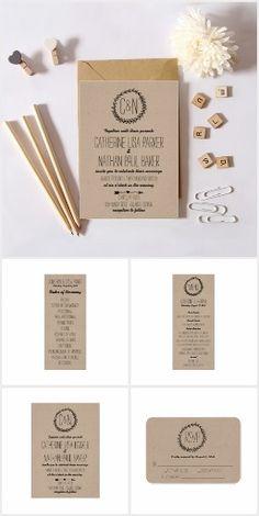 Wreath Rustic Kraft Wedding Invitation Suite